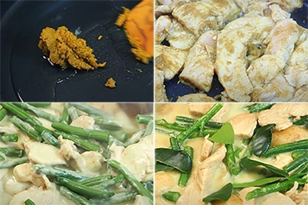 step by step chicken Thai green curry recipe with green beans and new potatoes
