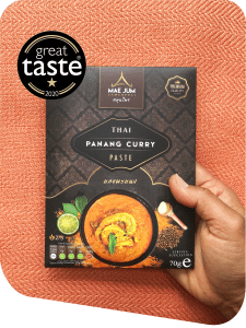 Great Taste Award authentic traditional Thai Panang Curry Paste on a red background