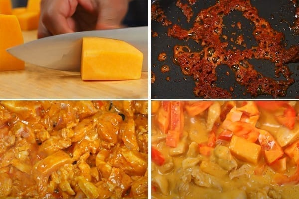 step by step chicken Thai red curry recipe with butternut squash