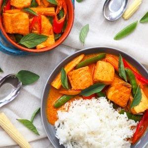 Salmon thai red curry