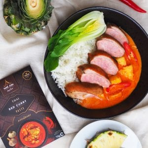 Duck Thai red curry with pineapple and pak choi
