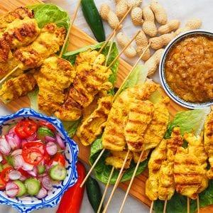 chicken satay with peanut sauce and nam ajad